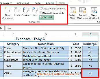 Review Tab Commands in Excel 2013