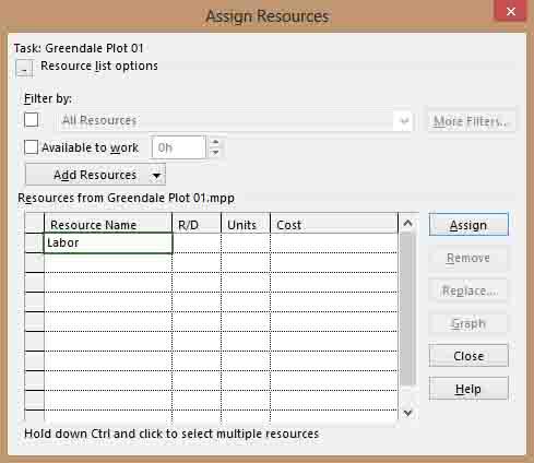 Assign Resources Dialog Box