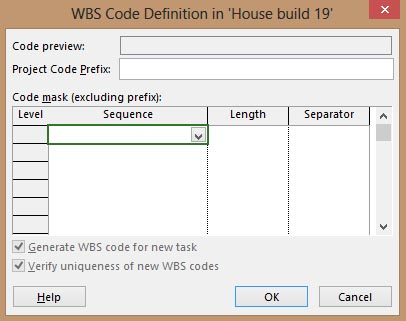 WBS Code Definition in Project 2013