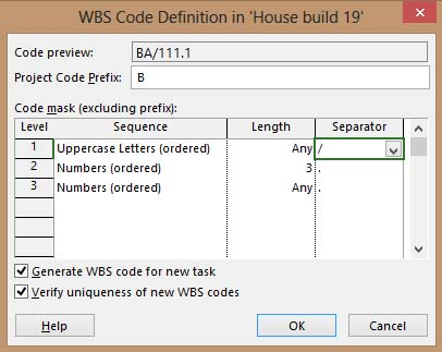 Sample 2 WBS COde Definition in Project 2013