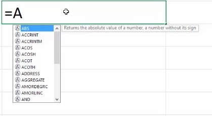 Formula AutoComplete in Excel 2016