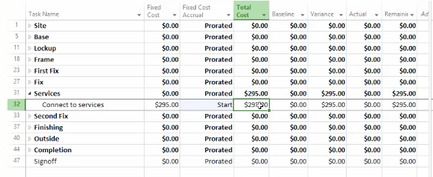 How to Add Fixed Cost in Project 2016