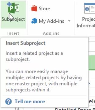 Combining projects in Microsoft Project 2016