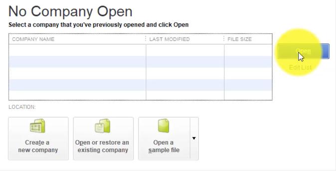 QuickBooks 2018 Open Company File