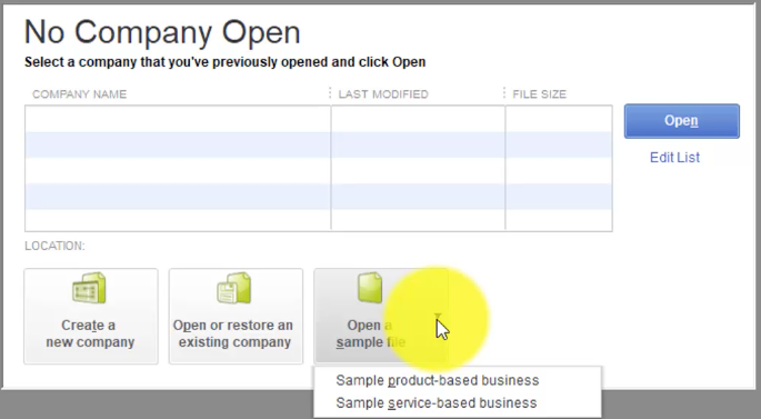 QuickBooks 2018 Open Sample Company File
