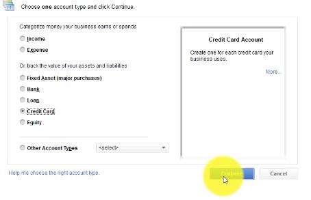 Entering Account Type in QuickBooks 2018