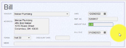 QuickBooks 2018 Memo Section of the Bill