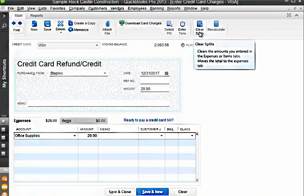 Entering Credit Card Transactions in QuickBooks Pro 2013