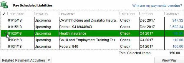 Payment Scheduled Liabiities