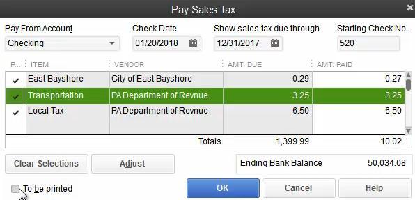 Pay Sales Tax in QB 2013