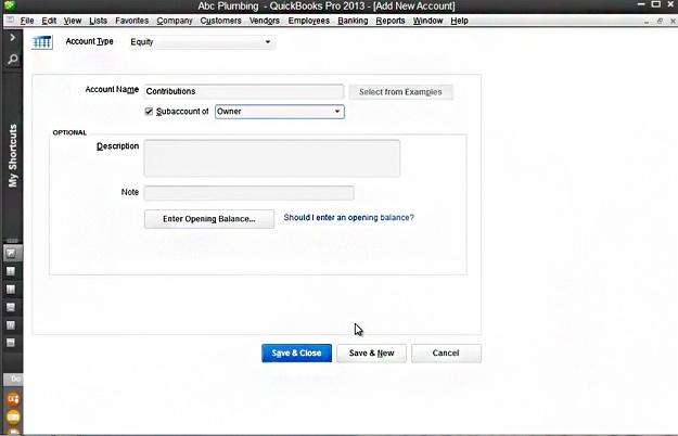 Add New Account Dialog Box