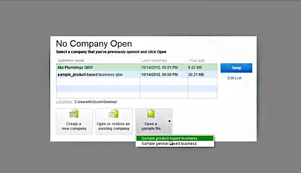 Open Sample Company File