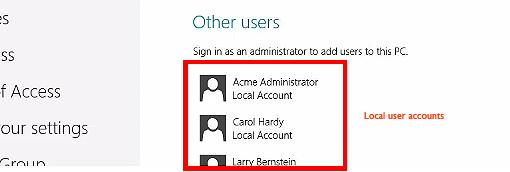 Local User Accounts in Win8