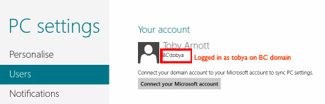 Domain User Account in Win8