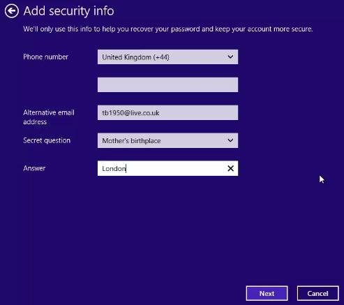 Add Security Info