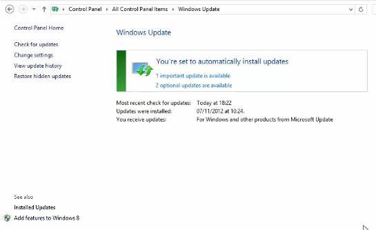 Windows Update Panel in Windows 8