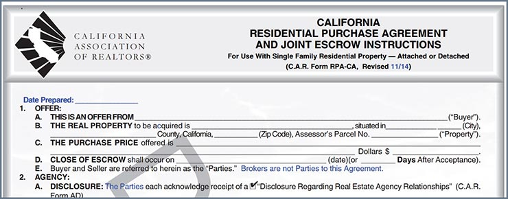 California Association of Realtors Form