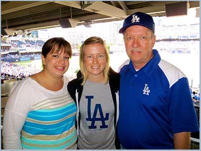 Melanie, Mallory & Gene at Dodger Game
