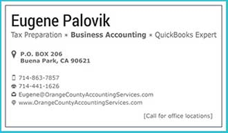 Orange County Accounting Services Business Card Back