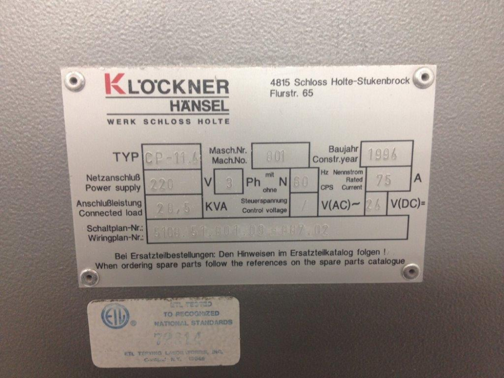 Klockner CP-11.4 Blister Machine