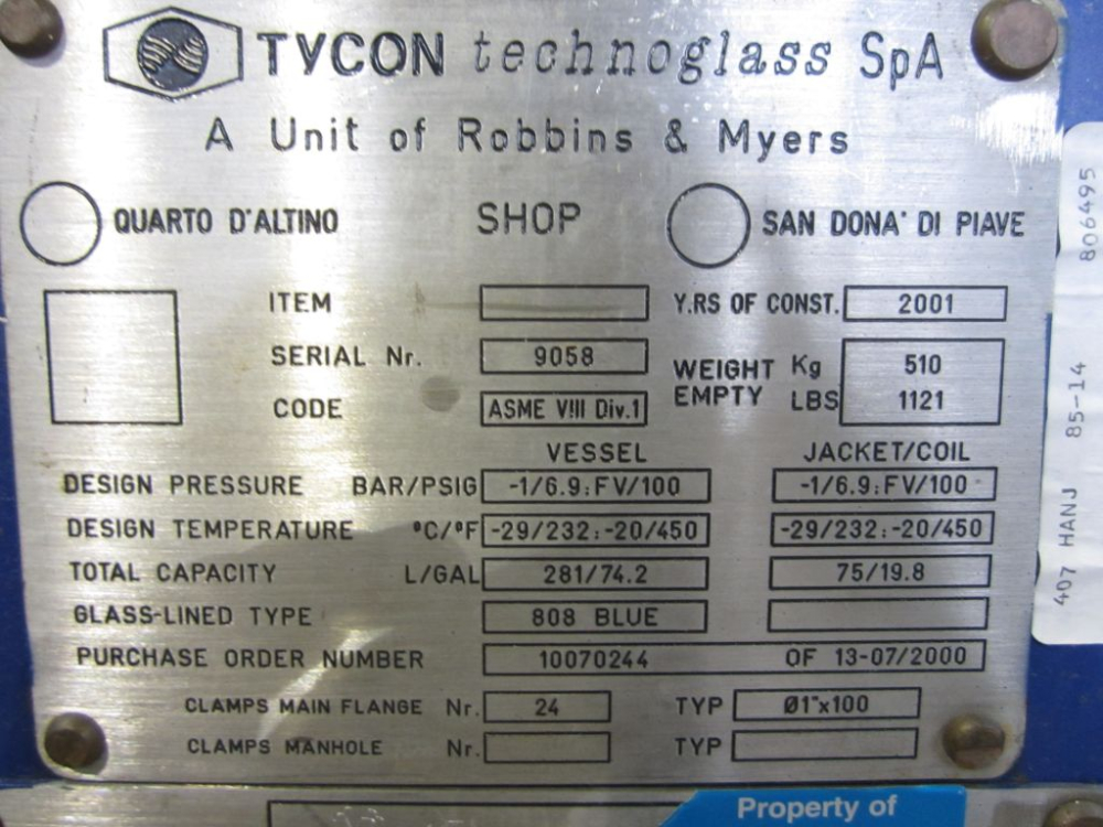 Tycon Glass Lined Reactor Vessel