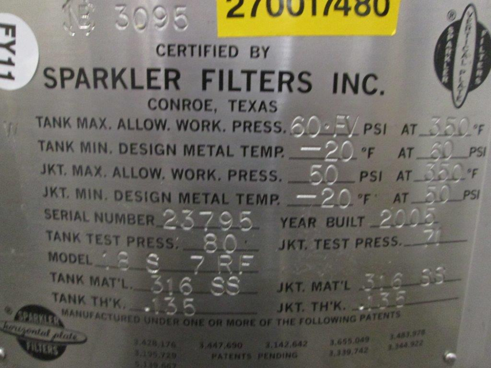 Sparkler Filter Inc Horizontal Plate Filter Vessel 18S 7RF