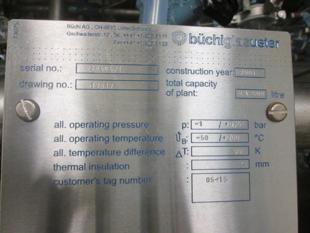 Buchiglas 500 Liter Distillation Production Reactor System