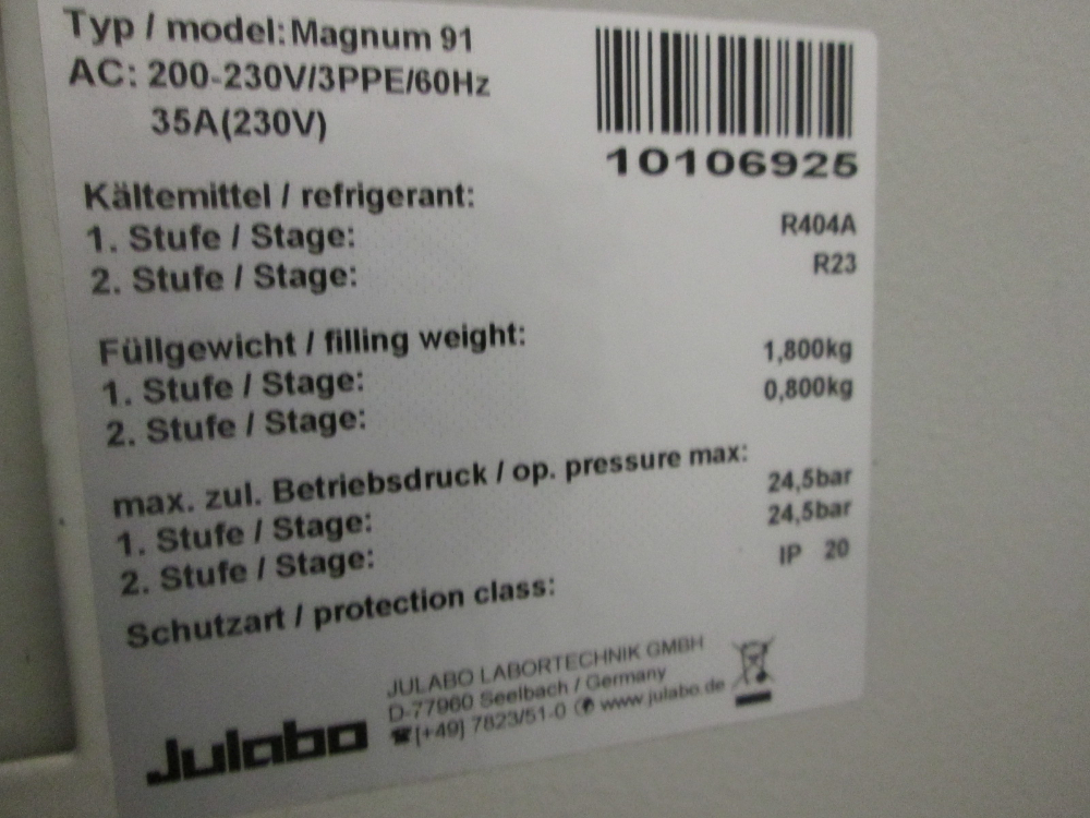 Julabo Magnum 91 Temperature Control System, Oem Rebuilt