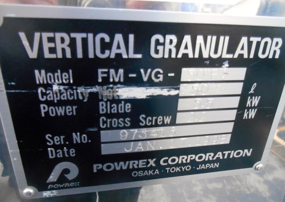 Powrex FM-VG-50 Hi-Shear Granulator