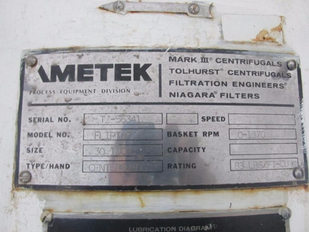 """Ametek Tolhurst 30"""" x 18"""" Basket Centrifuge"""