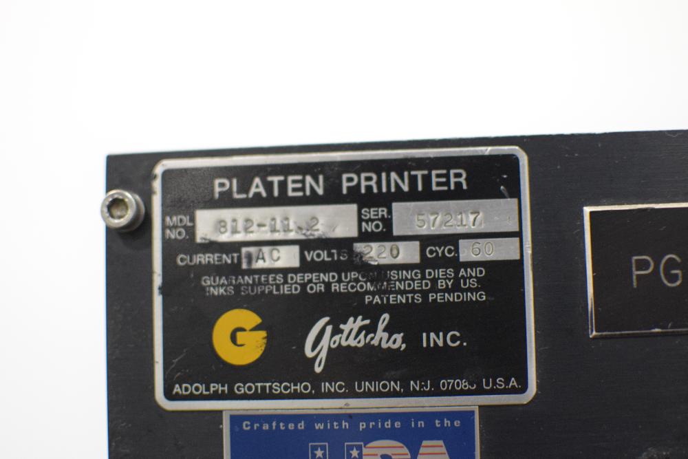 Gottscho Platen Printer Model 812-11.2