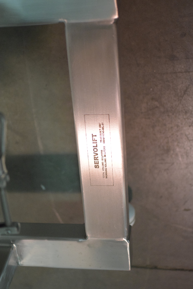 Servolift 80 Liter Stainless Steel IBC Bin