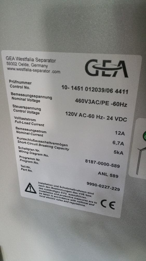 GEA Westfalia High-Efficiency Clarifier