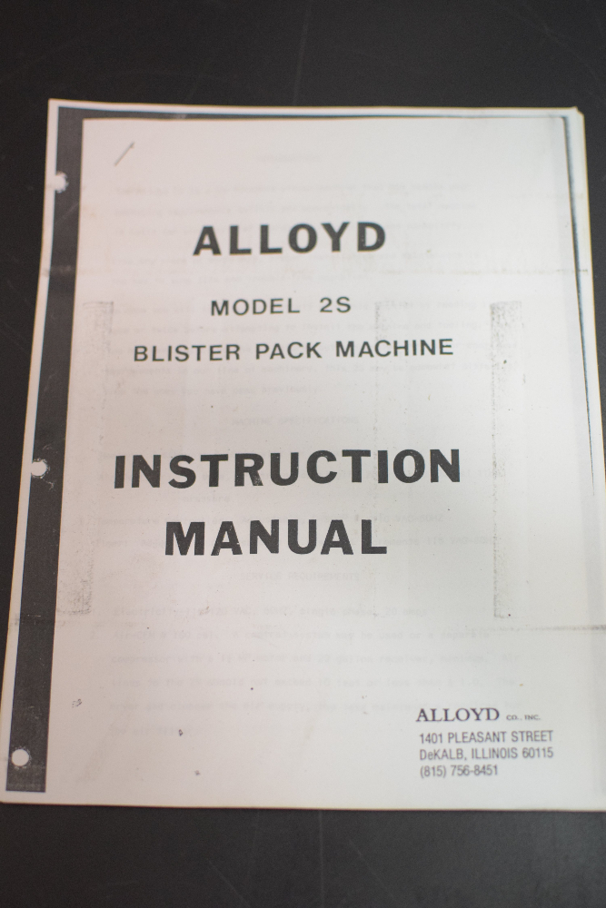 Alloyd Model S2 Blister Pack Machine