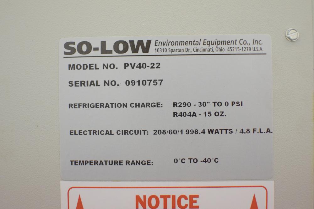 So-Low Model PV40-22 Laboratory Freezer