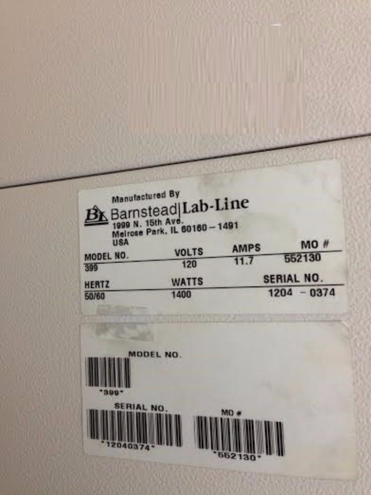 Lab-Line Model 399 CO2 Incubator