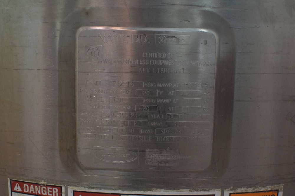 Walker 500 Liter Jacketed Tank