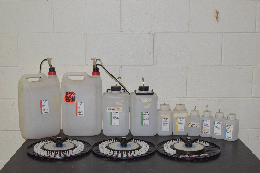 Lot of 13, Starrsed Bottles (2) 10L for Waste, (2) 5L for Rinse Solution,  (2) 1