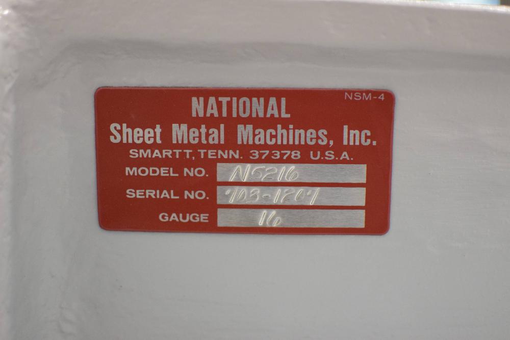 National Sheet Metal Machines N5216 Metal Shears