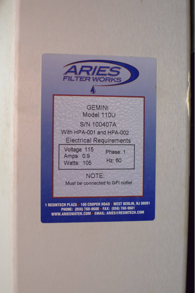 Gemini 110U Aries UltraPure Water Filtration System
