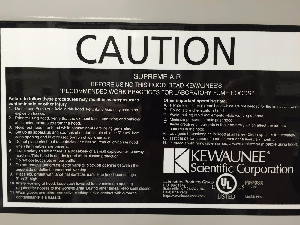 Kewaunee H07 8' Fume Hood