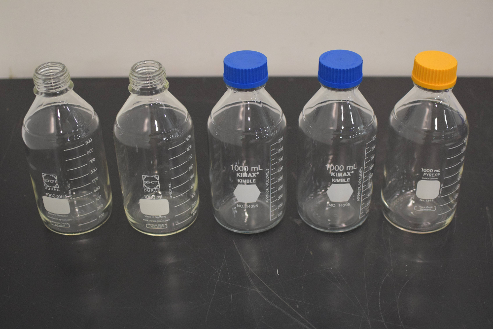 Lot of (5) 1000ml Glassware Bottles