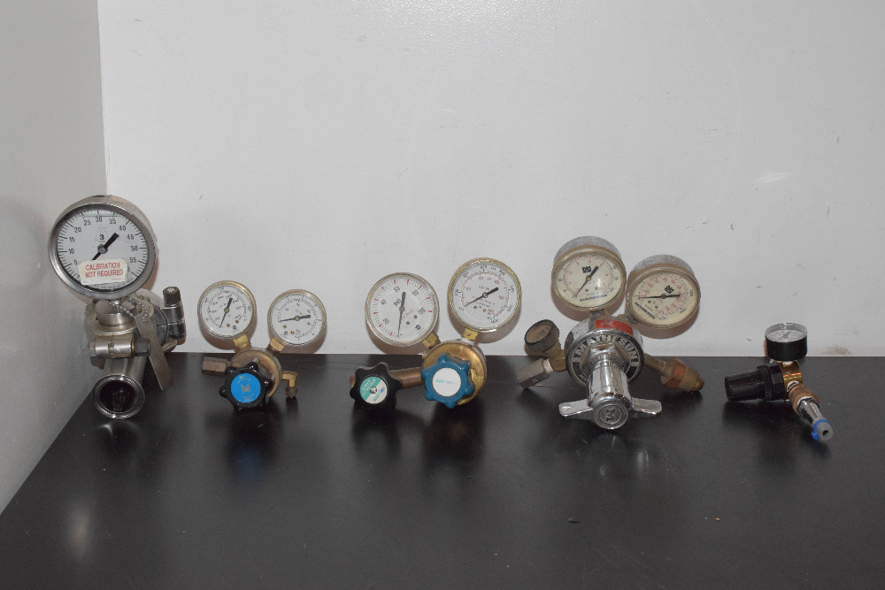 Lot of (5) Fittings with Pressure Gauges