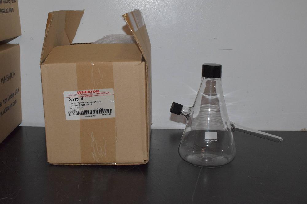 Lot of (7) Wheaton 1000ml Nephelo Culture Flask