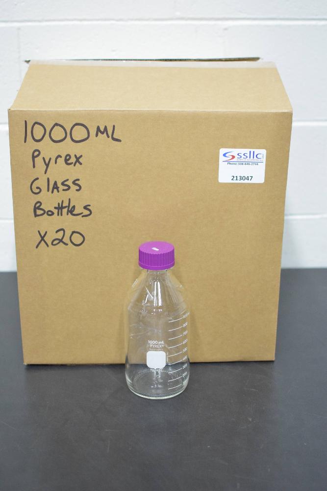Lot of (20) Pyrex 1000ml Glass Bottles