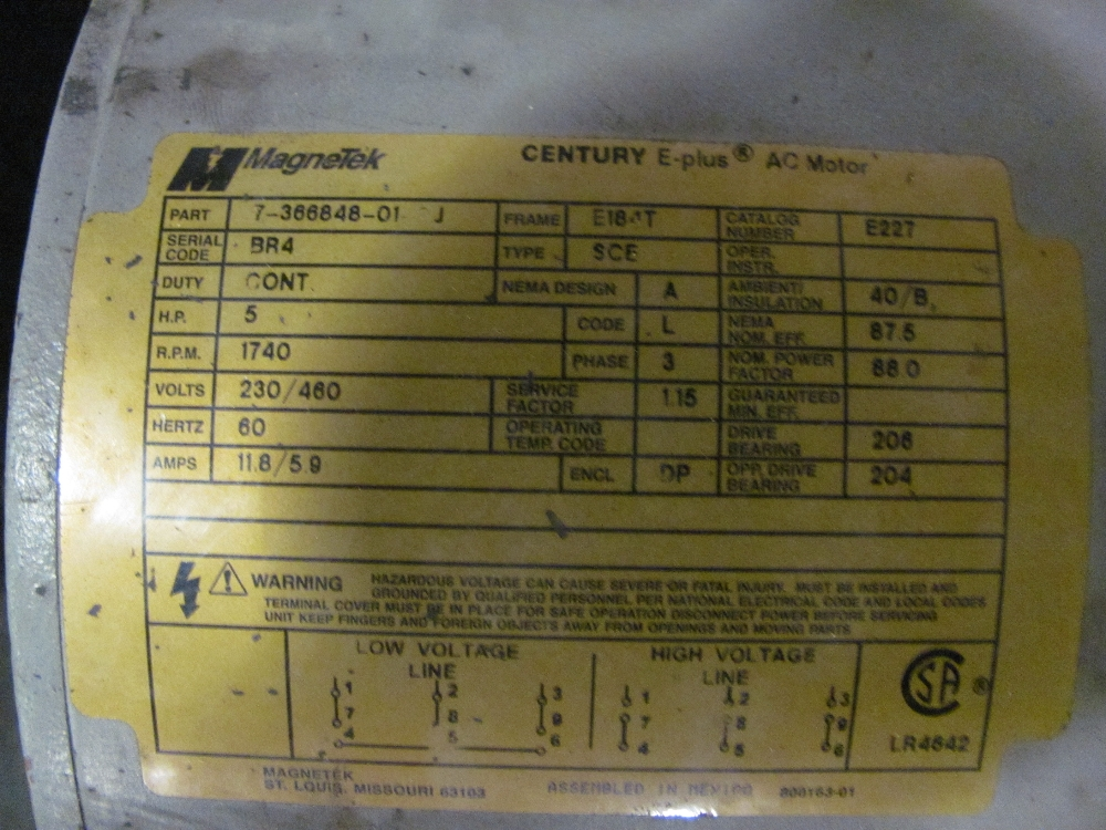 magnetek century e plus 5hp e184t ac motor