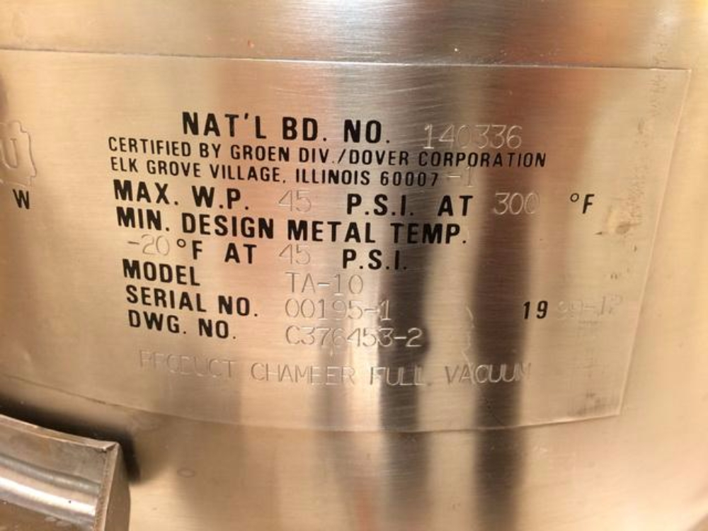 Groen Premier TA-10 Manufacturing Mixing Kettle