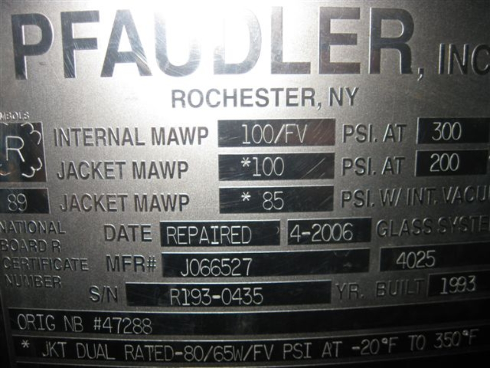 Pfaudler Reactor Body 200 Gallon