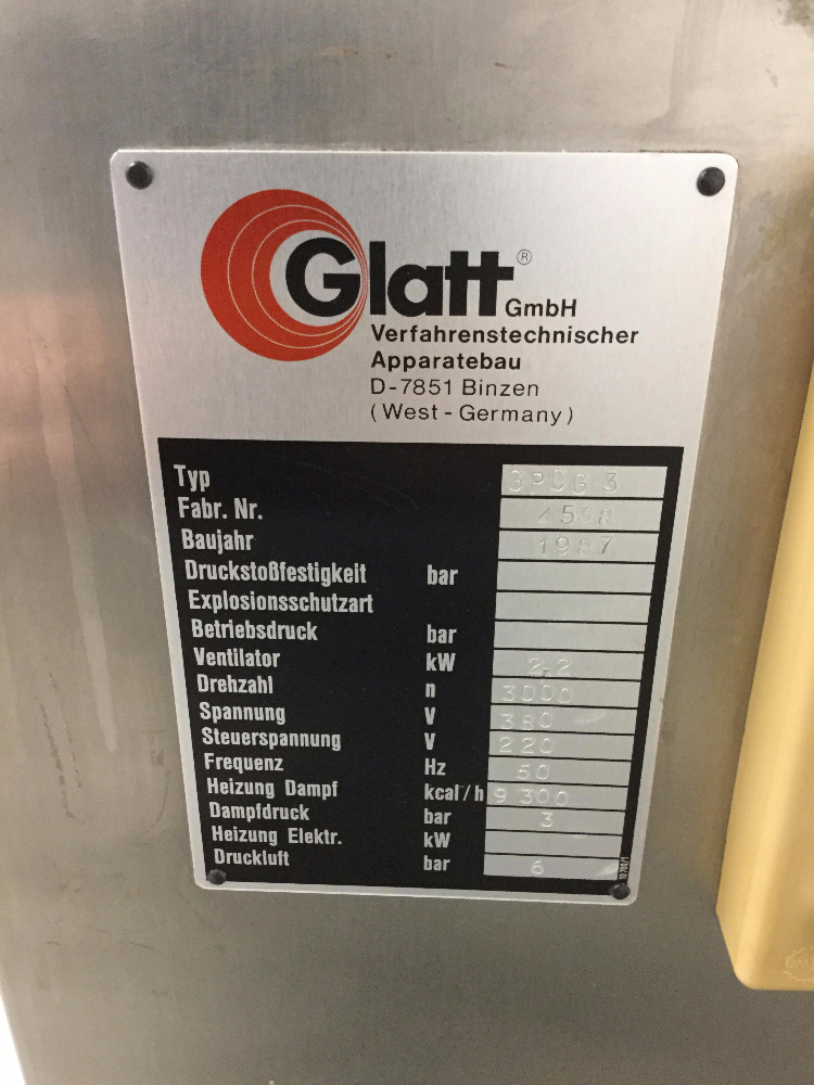 Glatt GPCG 3 Fluid Bed Dryer