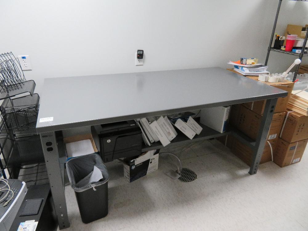 Lot of 2 ULINE steel adjustable tables (1) 6ft x 3ft (1) 5ft x 3ft Uline adjusta